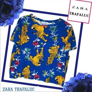 ZARA TRAFALUC Blue Tiger Boxy T-shirt Top